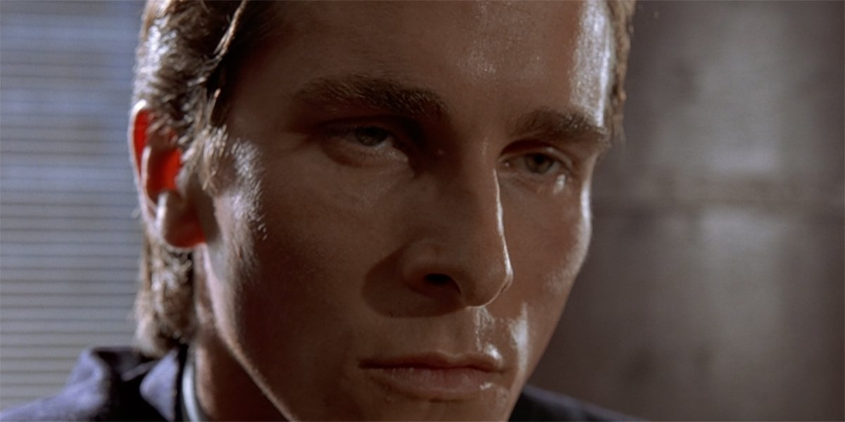 American Psycho Christian Bale as Patrick Bateman sweat