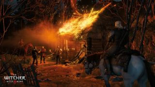 Witcher 3: Geralt riding towards burning house
