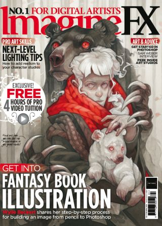 ImagineFX 159 cover of bear holding a woman who is cradling a baby bear