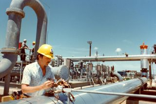 A technician inspects gauge on meter station at the Reserve's Bryan Mound site near Freeport, TX. Credit: DOE