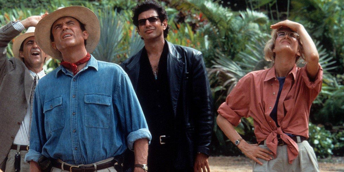 Sam Neill, Jeff Goldblum and Laura Dern in the original Jurassic Park