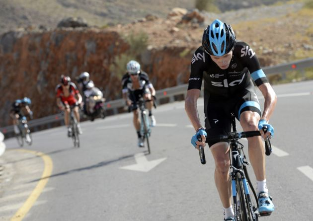 Chris Froome attacks on stage five of the 2014 Tour of Oman