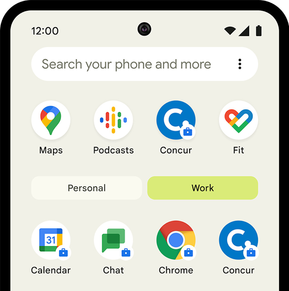 Android work and personal app profiles