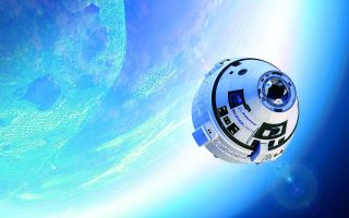 An artist's rendition shows Boeing's CST-100 Starliner heading for a rendezvous with the International Space Station.