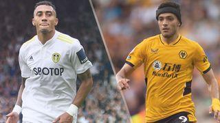 Raphinha of Leeds and Raul Jimenez of Wolverhampton Wanderers