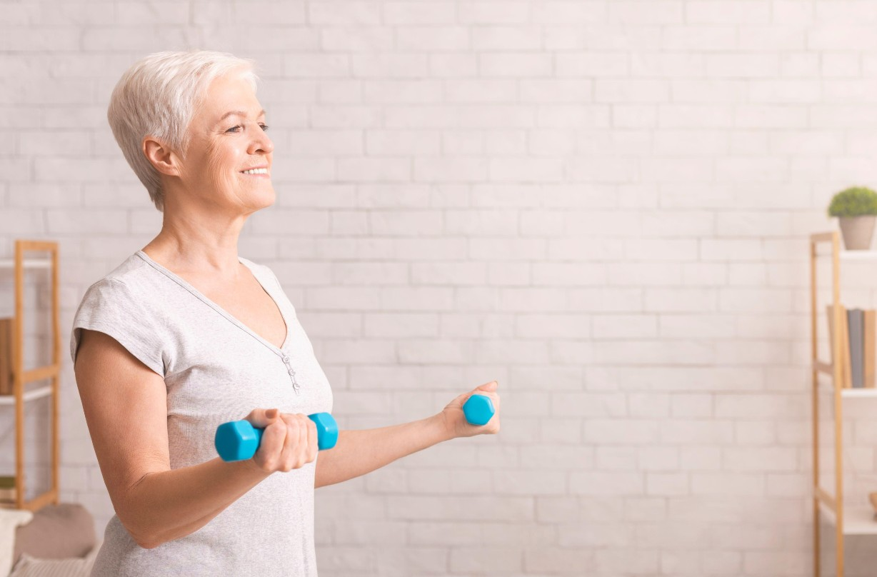 elderly, exercise, weights