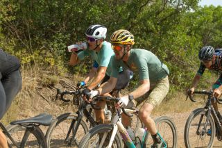 Ian Boswell (right) next to Ted King (left) in SBT GRVL 2021, a 144 mile gravel race starting and finishing in Steamboat Springs