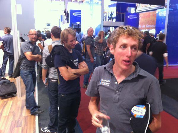Daniel Martin on Garmin stand, Eurobike 2010