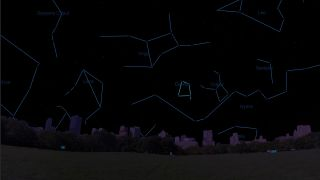 Corvus, the Crow, as it will appear over New York City on May 25 at 9:30 p.m. local time.