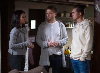 David, Jacob and Layla await the arrival of the paternity test in Emmerdale