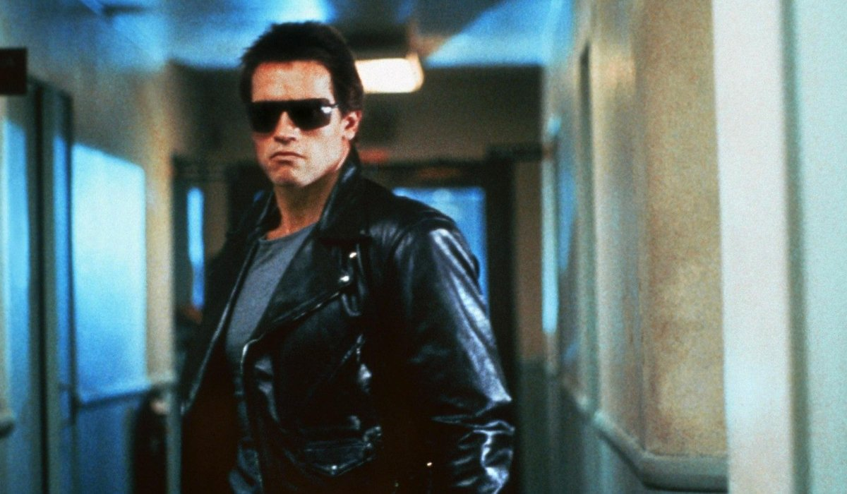The Terminator T-800 stalking the corridor in his leather jacket and sunglasses