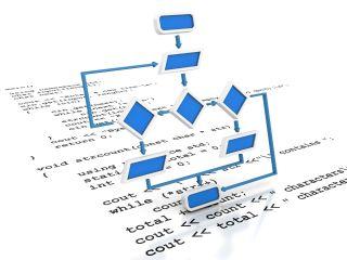 3D programming flow chart rises above programming printout.