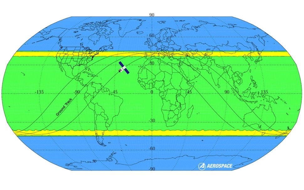 China's Tiangong-1 space station is predicted to fall somewhere between the latitudes of 42.8 degrees north and 42.8 degrees south, the area shaded in yellow and green here.