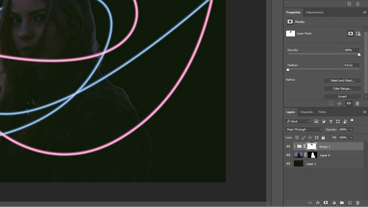 Photoshop screenshot shows layers grouped, with a mask applied