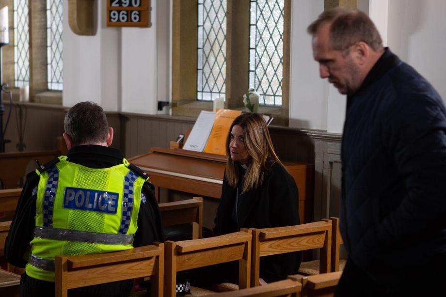Harriet Finch is in silent turmoil in Emmerdale