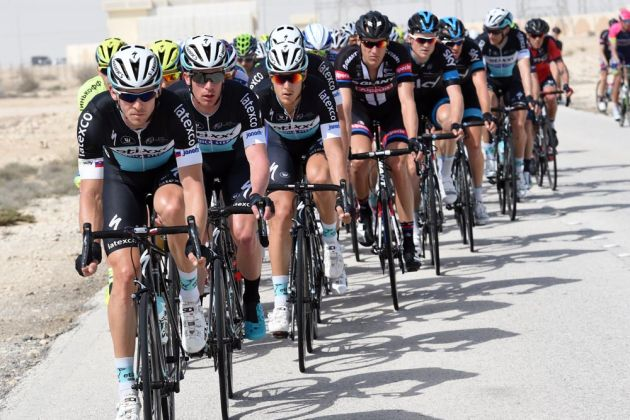 The Etixx team chases on stage four of the 2015 Tour of Qatar