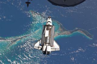 Shuttle Atlantis over the Bahamas