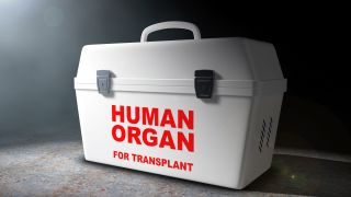 A cooler for transporting human organ donation.