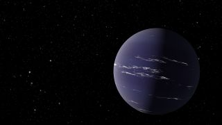 An artist's depiction of a Neptune-like exoplanet.