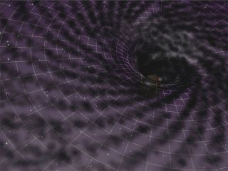 Artist's impression of the distortion of space-time by a supermassive black hole at the center of a galaxy