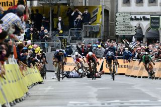 Crash in the final l150 metres at stage 3 of the Tour de France