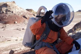 Mars 160 crewmember Annalea Beattie on Marswalk