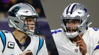 Sam Darnold and Dak Prescott who will play in the Panthers vs Cowboys live stream