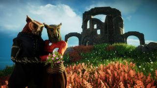 A couple of owl-people standing near a castle ruins in Eastshade