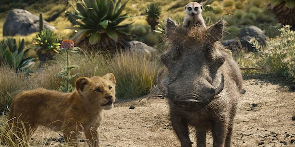 Young Simba with Timon and Pumbaa in The Lion King