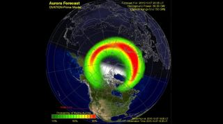 This aurora forecast by the U.S. Space Weather Prediction Center shows the expected northern lights activity for Oct. 7, 2015 during a geomagnetic storm. The storm could make auroras visible as far south as Pennsylvania, Iowa and Oregon, according to an S