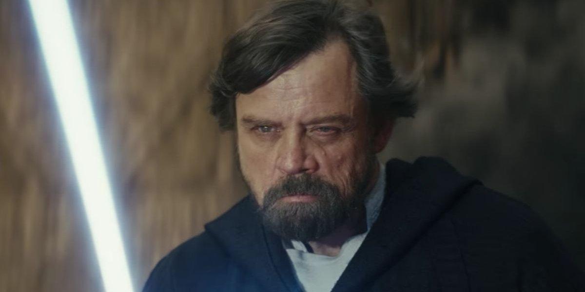 Star Wars: The Last Jedi Luke Skywalker with his lightsaber on Crait