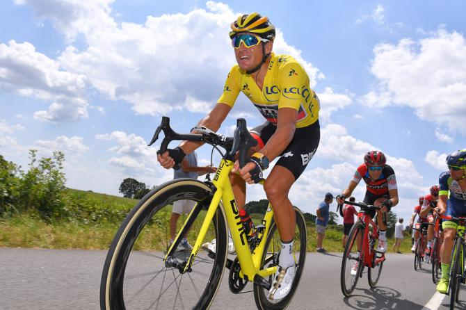 Greg Van Avermaet in yellow during stage 4 at the Tour de France