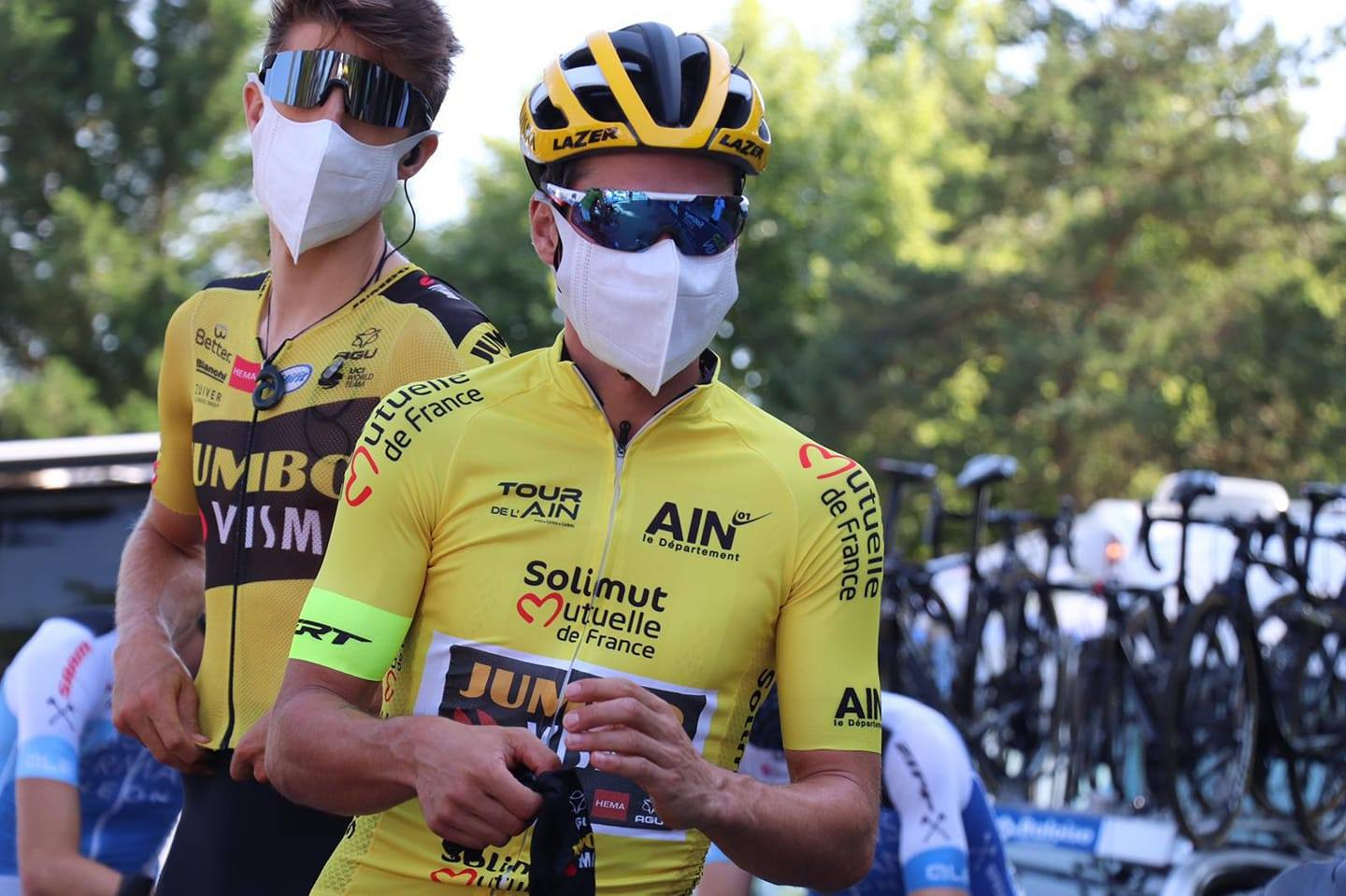Primoz Roglic and George Bennett at the start of stage 3 of the 2020 Tour de l'Ain