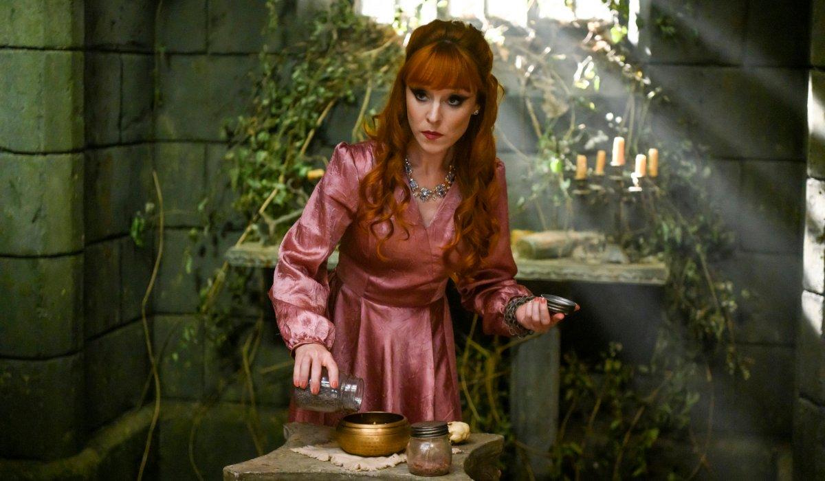 supernatural rowena doing a spell pink dress