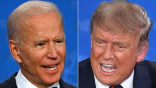 Democratic Presidential candidate Joe Biden (L) and President Donald Trump speak during the first presidential debate in Cleveland, Ohio, on Sept. 29, 2020.