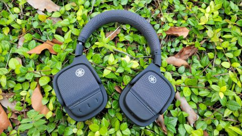 The Yamaha YH-L700A headphones resting on a bed of green leaves
