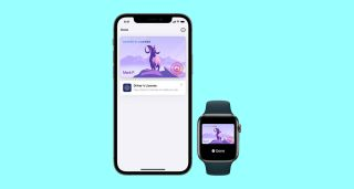An Apple iPhone and an Apple Watch displaying mock-ups of Apple's digital representation of a state driver's license.