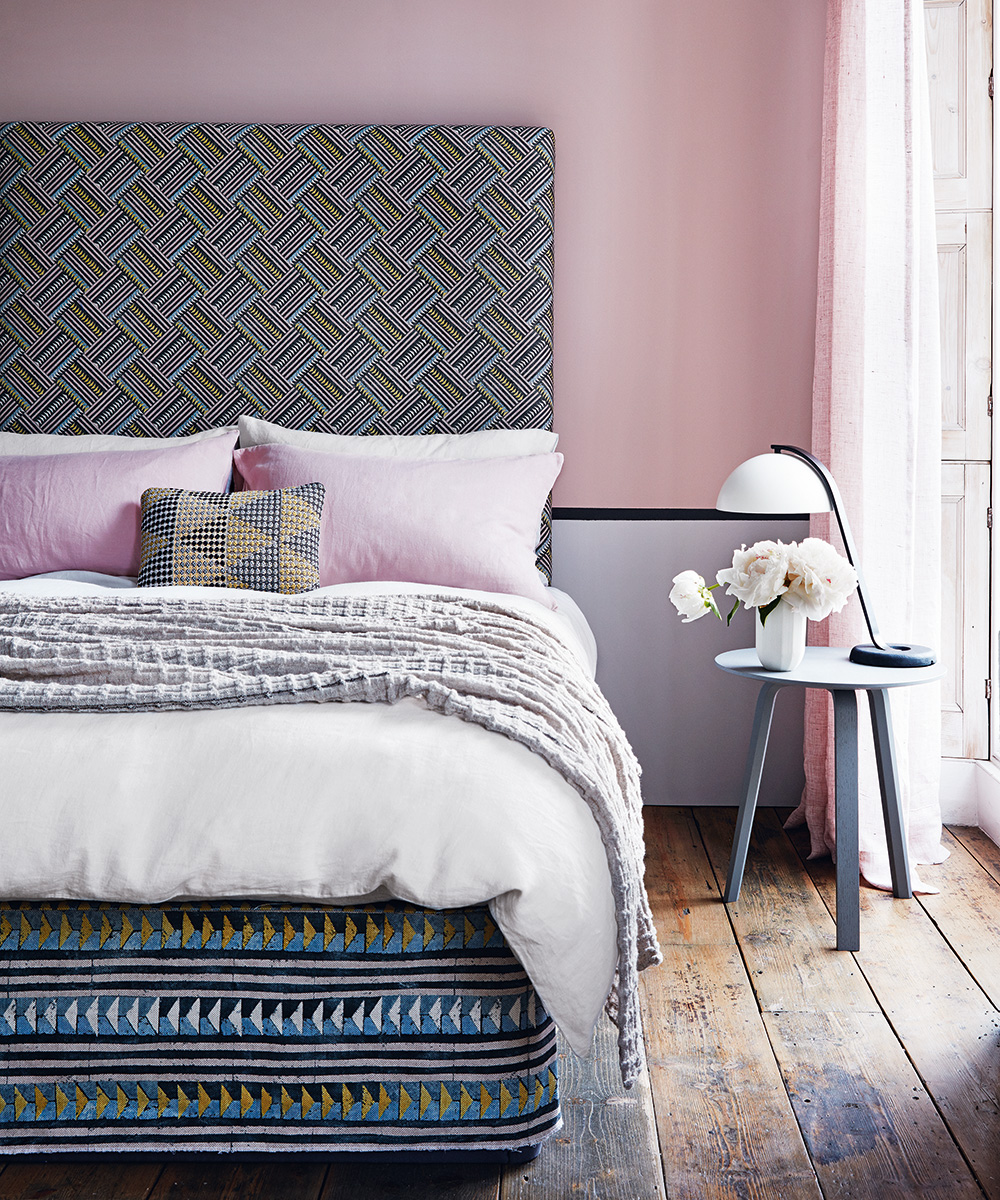 Soft pink bedroom with playful geometrics | Homes & Gardens