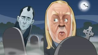 cartoon of Rick Wakeman urinating in a graveyard