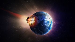 Illustration of an asteroid striking Earth.