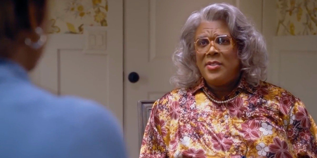 Tyler Perry in the gray wig as Madea