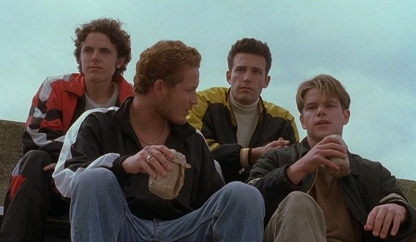 Good Will Hunting Ben Affleck and Matt Damon drinking on the bleachers with friends