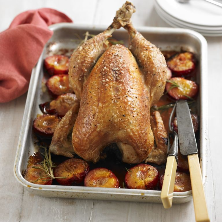 roast chicken with sticky plums recipe-chicken recipes-recipe ideas-new recipes-woman and home