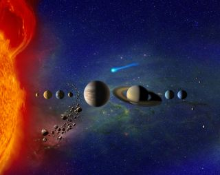 Artist's rendition of our solar system. Not to scale.