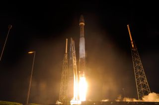 High-res photo of Atlas 5 rocket launching NASA's Radiation Belt Storm Probes on Aug. 30, 2012.