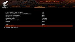 Gigabyte BIOS showing enabled fTPM
