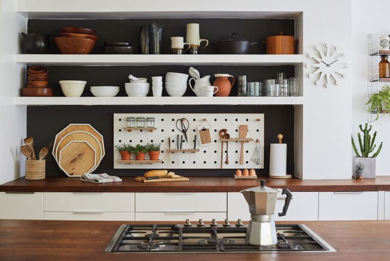 Kitchen Storage Ideas With Open Shelves And Peg Board Wall