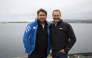 James Martin and chef Nick Nairn on the Orkney Islands