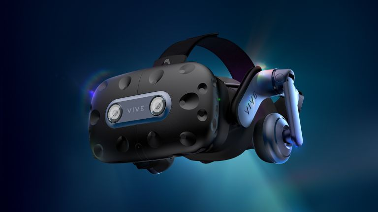HTC Vive Pro 2 shown on angle on white background