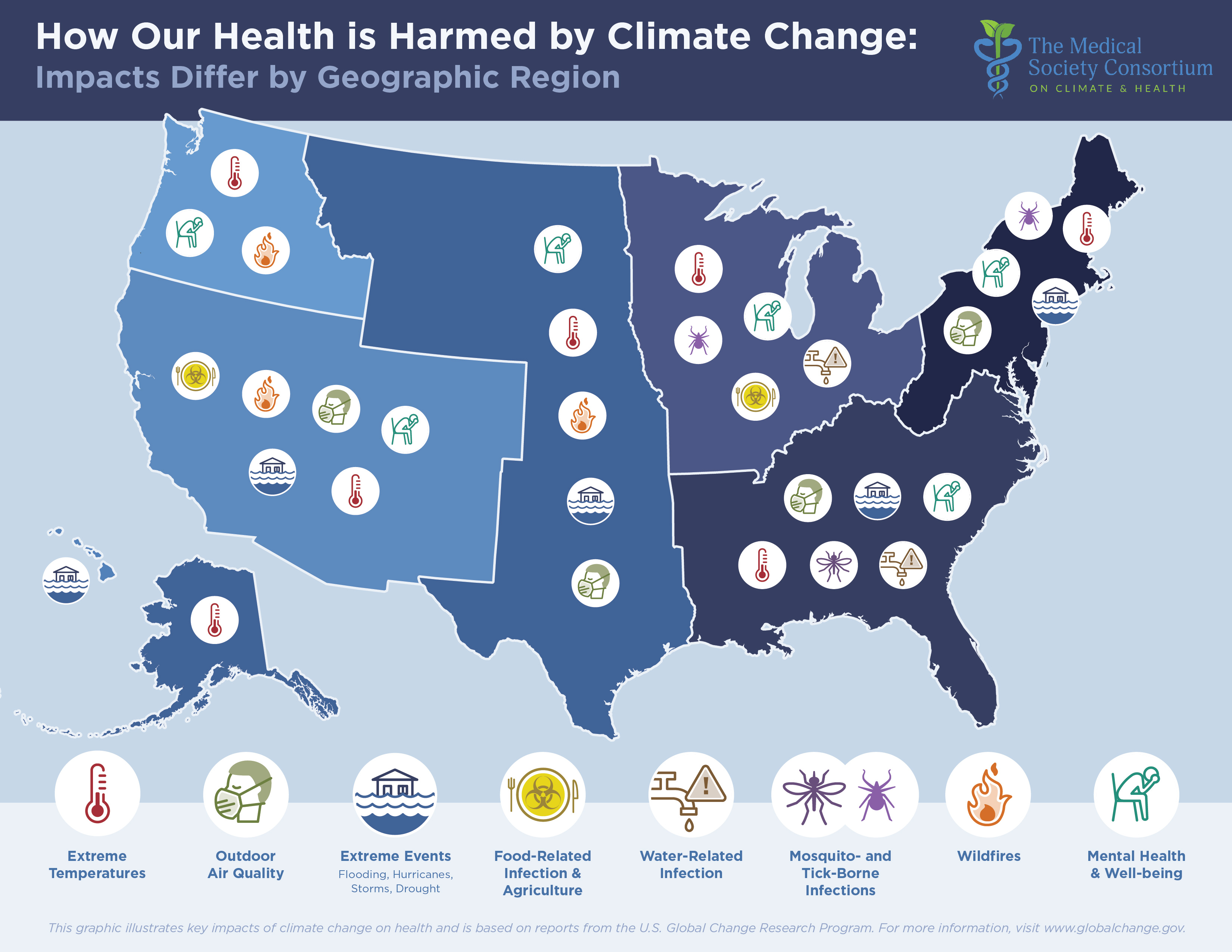 Map Shows How Climate Change Will Affect Health Across US ... on communicable disease map, immune response map, heart disease map, human disturbance map, liver disease map, postpartum care map, fungal disease map, disease mind map, zoonotic disease map, malaria map, trichinosis map, endemic disease map, diabetes map, psychiatry map, autoimmune disease map, neonatal care map, global disease map, infectious skin diseases, chagas disease map,